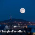 moon behind hill